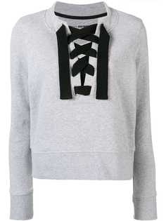 lace-up fitted sweatshirt DKNY