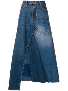 джинсовая юбка миди дизайна пэчворк Loewe