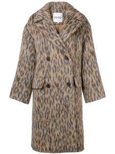 двубортное леопардовое пальто Kenzo