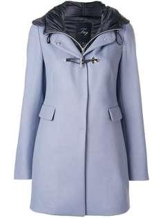 однобортное пальто с капюшоном Fay