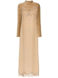 бархатное платье с кружевом и высокой горловиной Stella McCartney