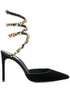 туфли-лодочки с ремешком в виде змеи с кристаллами René Caovilla