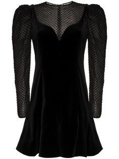 бархатное платье с длинными объемными рукавами Valentino
