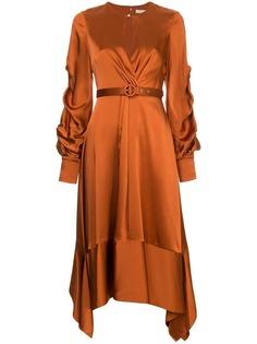 """атласное платье миди с вырезом """"замочная скважина"""" Jonathan Simkhai"""