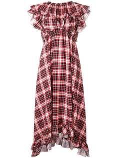 платье в клетку с оборками MSGM
