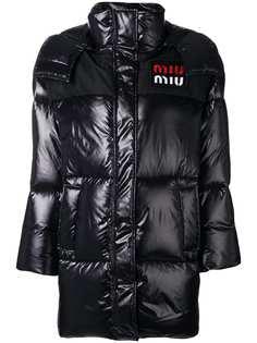 пуховое пальто свободного кроя Miu Miu