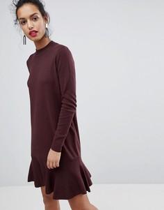 Приталенное трикотажное платье Y.A.S Media - Коричневый
