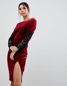 Бархатное платье с длинными рукавами и кружевом Paper Dolls - Красный