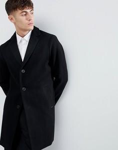 Черное полушерстяное пальто в строгом стиле Esprit - Черный