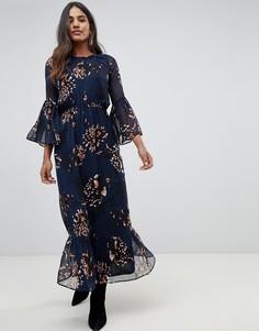 Платье макси с цветочным принтом Y.A.S Filukka - Темно-синий