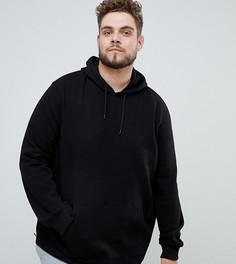 Худи черного цвета с молнией Burton Menswear Big & Tall - Черный