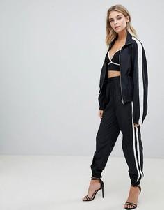 Черные спортивные брюки с полосами по бокам Missguided - Черный