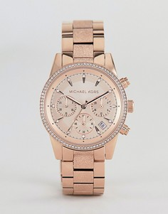 Золотисто-розовые часы-браслет с хронографом Michael Kors MK2752 Ritz Sofie - 37 мм - Золотой