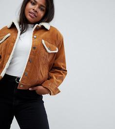 Коричневая вельветовая куртка с меховым воротником ASOS DESIGN Curve - Светло-бежевый