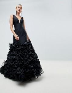 Платье макси с 3D отделкой Jovani - Черный