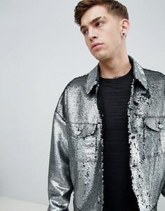 Свободная серебристая куртка с пайетками ASOS DESIGN - Серебряный