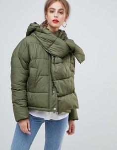 Дутая куртка с капюшоном и шарфом Vero Moda - Зеленый