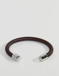 Коричневый кожаный браслет в елочку Ted Baker - Коричневый