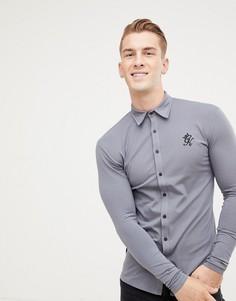 31d056e2ffd Темно-серая трикотажная рубашка с длинными рукавами Gym King - Серый