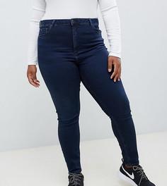 937104d64fe Синие выбеленные джинсы скинни с завышенной талией ASOS DESIGN Curve Ridley  - Синий