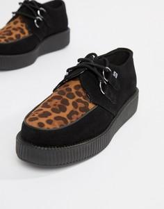 Ботинки из искусственной кожи на платформе с леопардовой вставкой T.U.K - Черный