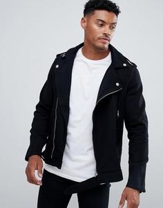 Черная джинсовая куртка с молнией boohooMAN - Черный