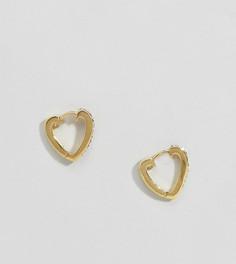 Позолоченные серебряные серьги-кольца в форме сердечек ASOS DESIGN - Золотой