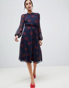 Платье с цветочным принтом Y.A.S Flow - Темно-синий