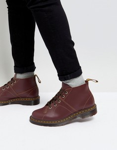 Tемно-бордовые ботинки на шнуровке Dr Martens Church Monkey - Красный