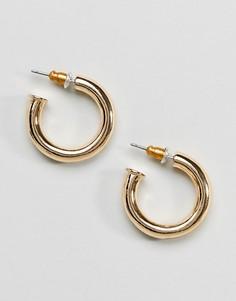 Золотистые толстые серьги-кольца ASOS DESIGN - Золотой