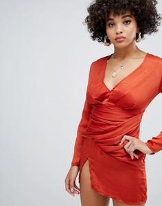 Темно-оранжевое атласное платье-футляр Missguided - Оранжевый