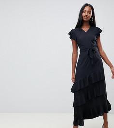 Асимметричное платье макси с оборками на рукавах Vero Moda tall - Черный