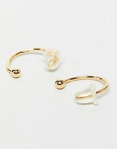 Золотистые серьги-кольца DesignB - Золотой