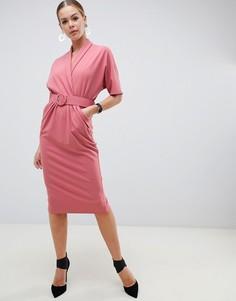 Платье-смокинг миди с поясом ASOS DESIGN - Розовый