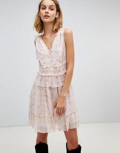 Платье мини с оборками и цветочным принтом AllSaints - Розовый