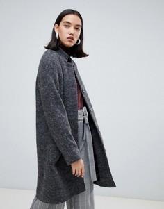 Шерстяное пальто миди Selected - Серый