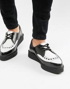 Черные кожаные криперы с острым носком и белой союзкой T.U.K - Черный