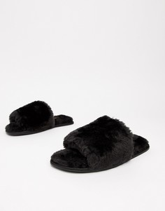 Шлепанцы с искусственным мехом Truffle Collection - Черный