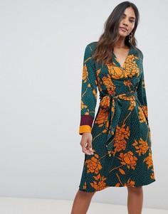 Платье в горошек с цветочным принтом и запахом Y.A.S - Мульти
