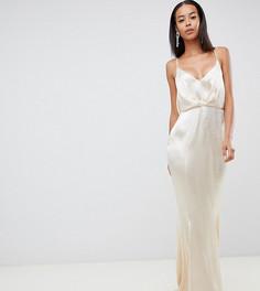 Блестящее атласное платье макси со складками спереди и годе ASOS DESIGN Tall - Золотой