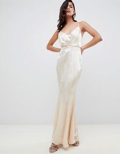 Асимметричное блестящее платье макси со складками ASOS DESIGN - Золотой