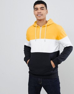 Худи желтого цвета на молнии в стиле колор блок New Look - Желтый