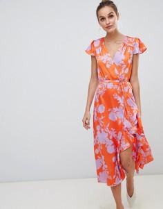 Платье миди с запахом и оборками River Island - Мульти