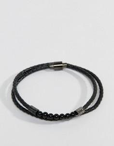Черный кожаный браслет в два оборота с бусинами Ted Baker Lizaa - Черный