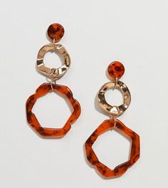 Серьги-кольца с черепаховой и золотистой отделкой Glamorous - Золотой