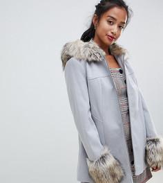 Светло-серое пальто свободного кроя с отделкой искусственным мехом Miss Selfridge Petite - Серый