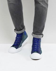 Высокие синие кеды с верхом из ткани Converse Chuck Taylor All Star II 155730C - Синий