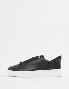 Черные кожаные кроссовки с отделкой рюшами Ted Baker - Черный