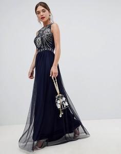 Платье макси без рукавов с открытой спиной и отделкой Frock & Frill - Синий