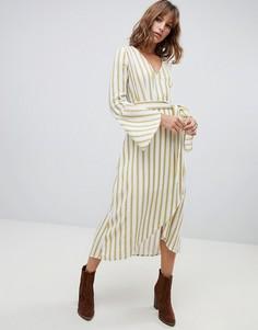 Платье в полоску с запахом Moon River - Желтый